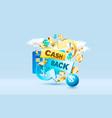 cash back service financial payment label vector image