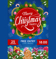 christmas wreath gifts and presents xmas party vector image