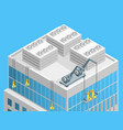 cleaning facade building concept 3d isometric view vector image
