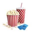 Cola Popcorn And Tickets vector image vector image