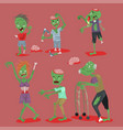 colorful zombie scary cartoon elements halloween vector image