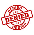 denied round red grunge stamp vector image vector image