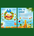easter day celebration cartoon poster template vector image vector image