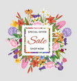floral sale banner and garden flowers special vector image vector image