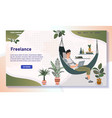 freelancer working from home man in hammock with vector image vector image