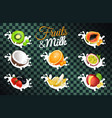 fruit and milk poster with transparent background vector image vector image