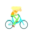 Girl Fast Riding Bicycle vector image vector image
