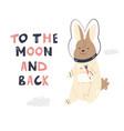 happy astronaut rabbit in a spacesuit and helmet vector image