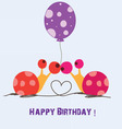 happy birthday two snails vector image vector image