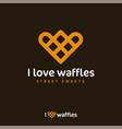 i love waffles logo like heart street sweets vector image