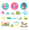 kid and breastfeeding toys set vector image vector image