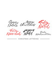 merry christmas calligraphy in different languages vector image