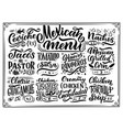 mexican menu lettering with traditional food names vector image vector image