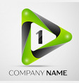 number one logo symbol in the colorful triangle on vector image vector image
