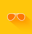 Orange summer sunglasses flat long shadow icon vector image vector image