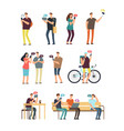 people using cellphone mobile internet and vector image vector image