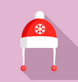 red winter hat icon flat style vector image vector image