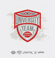 Rugby emblem university team and design elements vector image vector image