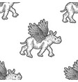 seamless set little rhino with wings apparel vector image vector image