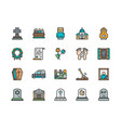 set funeral color line icons church crypt vector image