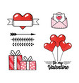 set love card with presents gifts and hearts vector image