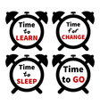 Set of clocks with text Isolated on white vector image