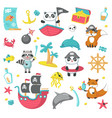 set of cute pirate animals and marine items vector image