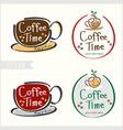 set of hand drawn style coffee badge label logo vector image vector image
