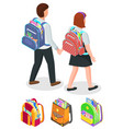 students holding hands boy and girl with bags vector image vector image