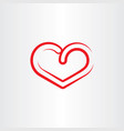 stylized red heart symbol icon element vector image vector image