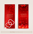 two vertical festive banner with hearts vector image vector image