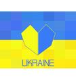 Ukraine flag in polygonal style Geometric I love U vector image