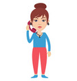 woman with telephone on white background vector image