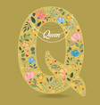 yellow letter q with floral decor and necklace vector image