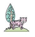 cute tiger wild animal next to tree vector image