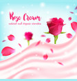 cosmetic cream texture design with rose natural vector image