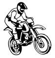 a silhouette of a motorcycle racer commits high vector image vector image