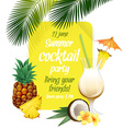Beach tropical cocktail pina colada with garnish vector image vector image