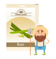beans seed pack vector image vector image