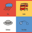 british national symbols icons set vector image vector image