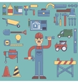 Builders icons set color flat vector image