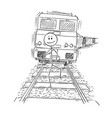 cartoon of unworried man walking on tracks and vector image