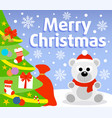christmas background card with polar bear vector image vector image