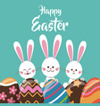 cute bunnies with egg ornament happy easter vector image vector image