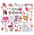 cute valentine doodles vector image