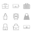 different bagage icon set outline style vector image vector image
