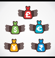 different currency bag fly symbol vector image vector image