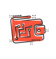 digital wallet icon in comic style crypto bag vector image vector image