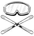 Doodle ski goggles skis vector image