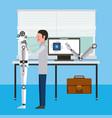engineer repair artificial intelligence robot vector image